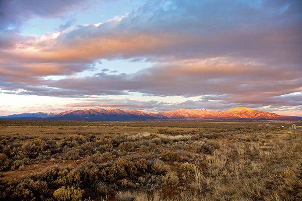Sunset of Taos mountains